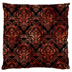 Damask1 Black Marble & Copper Paint (r) Large Cushion Case (two Sides)