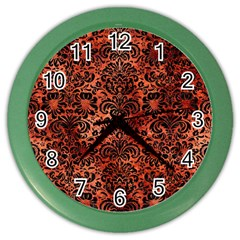 Damask2 Black Marble & Copper Paint Color Wall Clocks by trendistuff