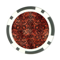 Damask2 Black Marble & Copper Paint Poker Chip Card Guard by trendistuff