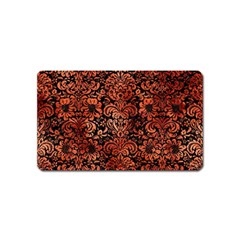 Damask2 Black Marble & Copper Paint (r) Magnet (name Card) by trendistuff