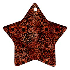 Damask2 Black Marble & Copper Paint (r) Star Ornament (two Sides) by trendistuff