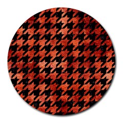 Houndstooth1 Black Marble & Copper Paint Round Mousepads