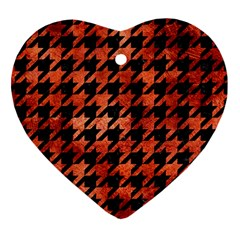 Houndstooth1 Black Marble & Copper Paint Heart Ornament (two Sides) by trendistuff