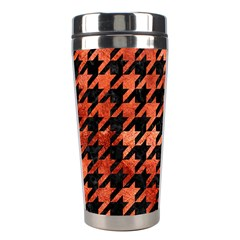 Houndstooth1 Black Marble & Copper Paint Stainless Steel Travel Tumblers by trendistuff