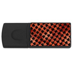Houndstooth2 Black Marble & Copper Paint Rectangular Usb Flash Drive by trendistuff