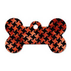 Houndstooth2 Black Marble & Copper Paint Dog Tag Bone (two Sides) by trendistuff