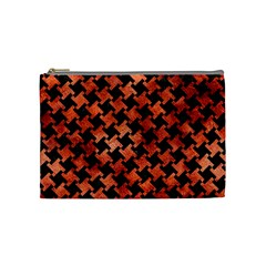Houndstooth2 Black Marble & Copper Paint Cosmetic Bag (medium)  by trendistuff