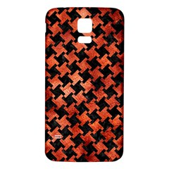 Houndstooth2 Black Marble & Copper Paint Samsung Galaxy S5 Back Case (white) by trendistuff