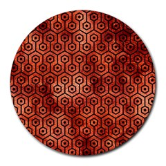 Hexagon1 Black Marble & Copper Paint Round Mousepads