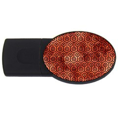Hexagon1 Black Marble & Copper Paint Usb Flash Drive Oval (2 Gb) by trendistuff