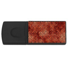 Hexagon1 Black Marble & Copper Paint Rectangular Usb Flash Drive by trendistuff