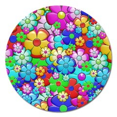 Flowers Ornament Decoration Magnet 5  (round)