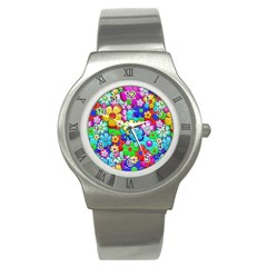 Flowers Ornament Decoration Stainless Steel Watch