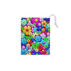 Flowers Ornament Decoration Drawstring Pouches (xs)  by Celenk