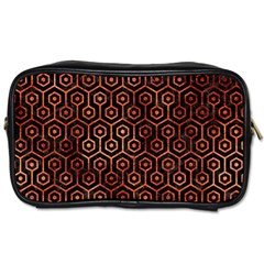 Hexagon1 Black Marble & Copper Paint (r) Toiletries Bags 2 Side by trendistuff