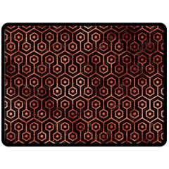Hexagon1 Black Marble & Copper Paint (r) Double Sided Fleece Blanket (large)  by trendistuff