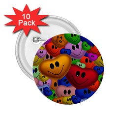 Heart Love Smile Smilie 2 25  Buttons (10 Pack)  by Celenk