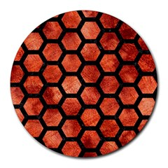 Hexagon2 Black Marble & Copper Paint Round Mousepads by trendistuff