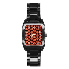 Hexagon2 Black Marble & Copper Paint Stainless Steel Barrel Watch by trendistuff