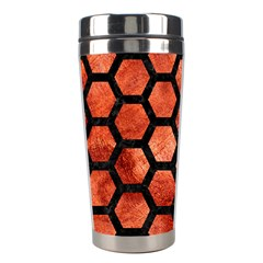 Hexagon2 Black Marble & Copper Paint Stainless Steel Travel Tumblers by trendistuff