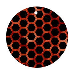 Hexagon2 Black Marble & Copper Paint (r) Ornament (round) by trendistuff