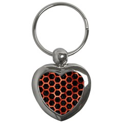 Hexagon2 Black Marble & Copper Paint (r) Key Chains (heart)  by trendistuff