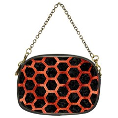 Hexagon2 Black Marble & Copper Paint (r) Chain Purses (one Side)  by trendistuff