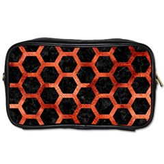 Hexagon2 Black Marble & Copper Paint (r) Toiletries Bags 2 Side by trendistuff