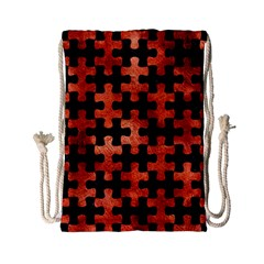 Puzzle1 Black Marble & Copper Paint Drawstring Bag (small) by trendistuff