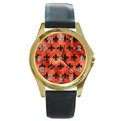 Royal1 Black Marble & Copper Paint (r) Round Gold Metal Watch by trendistuff