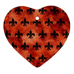 Royal1 Black Marble & Copper Paint (r) Heart Ornament (two Sides) by trendistuff