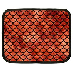 Scales1 Black Marble & Copper Paint Netbook Case (large) by trendistuff