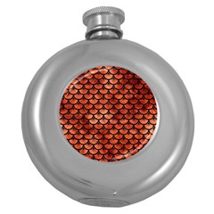 Scales3 Black Marble & Copper Paint Round Hip Flask (5 Oz) by trendistuff