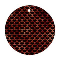 Scales3 Black Marble & Copper Paint (r) Round Ornament (two Sides) by trendistuff