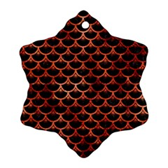 Scales3 Black Marble & Copper Paint (r) Snowflake Ornament (two Sides) by trendistuff