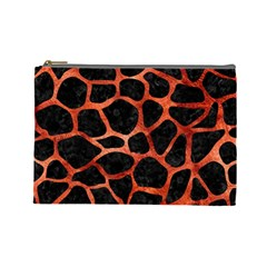 Skin1 Black Marble & Copper Paint Cosmetic Bag (large)  by trendistuff