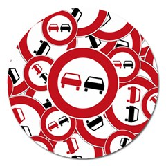 Overtaking Traffic Sign Magnet 5  (round)