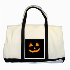 Pumpkin Helloween Face Autumn Two Tone Tote Bag by Celenk
