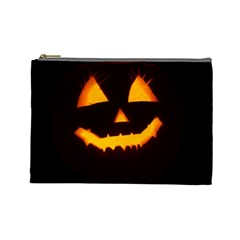 Pumpkin Helloween Face Autumn Cosmetic Bag (large)