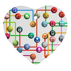 Icon Media Social Network Ornament (heart) by Celenk