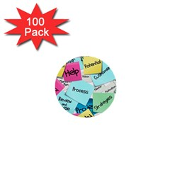 Stickies Post It List Business 1  Mini Buttons (100 Pack)  by Celenk
