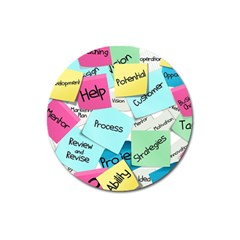 Stickies Post It List Business Magnet 3  (round) by Celenk