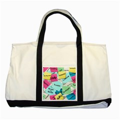 Stickies Post It List Business Two Tone Tote Bag by Celenk
