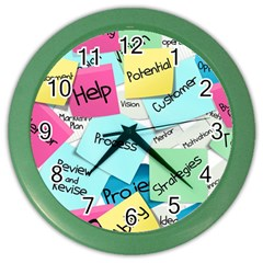 Stickies Post It List Business Color Wall Clocks by Celenk