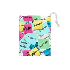 Stickies Post It List Business Drawstring Pouches (small)  by Celenk