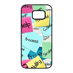 Stickies Post It List Business Samsung Galaxy S7 Edge Black Seamless Case by Celenk