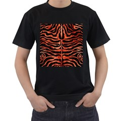 Skin2 Black Marble & Copper Paint (r) Men s T Shirt (black) (two Sided)