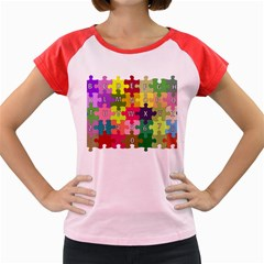 Puzzle Part Letters Abc Education Women s Cap Sleeve T Shirt