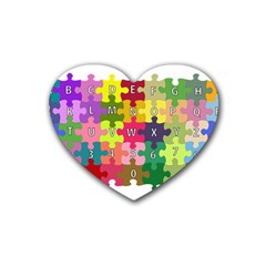 Puzzle Part Letters Abc Education Heart Coaster (4 Pack)  by Celenk