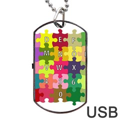 Puzzle Part Letters Abc Education Dog Tag Usb Flash (two Sides) by Celenk